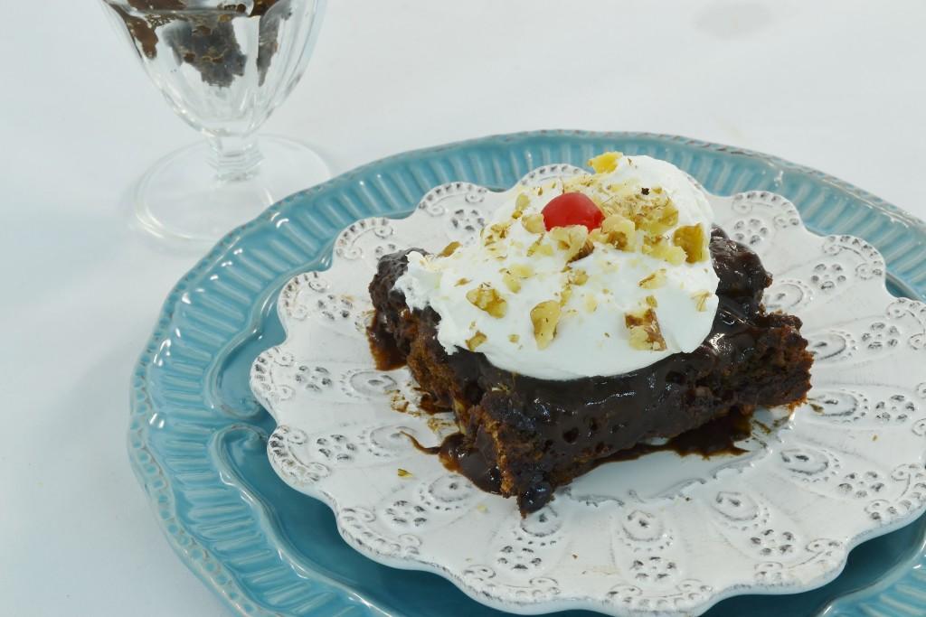 A hot fudge sundae cake made with Rada Cutlery products.