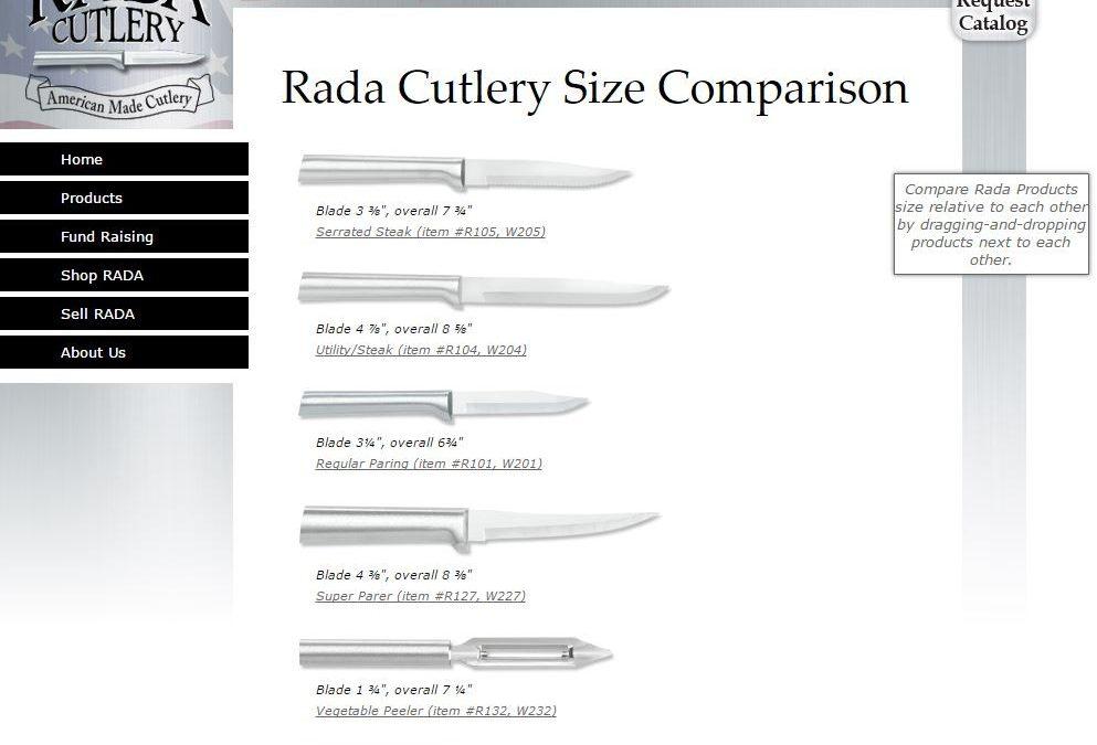 Rada Cutlery's Product Comparison Chart | Rada Knives Size Chart