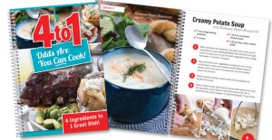 The 4 to 1 Cookbook features scrumptious dishes that only require four ingredients!