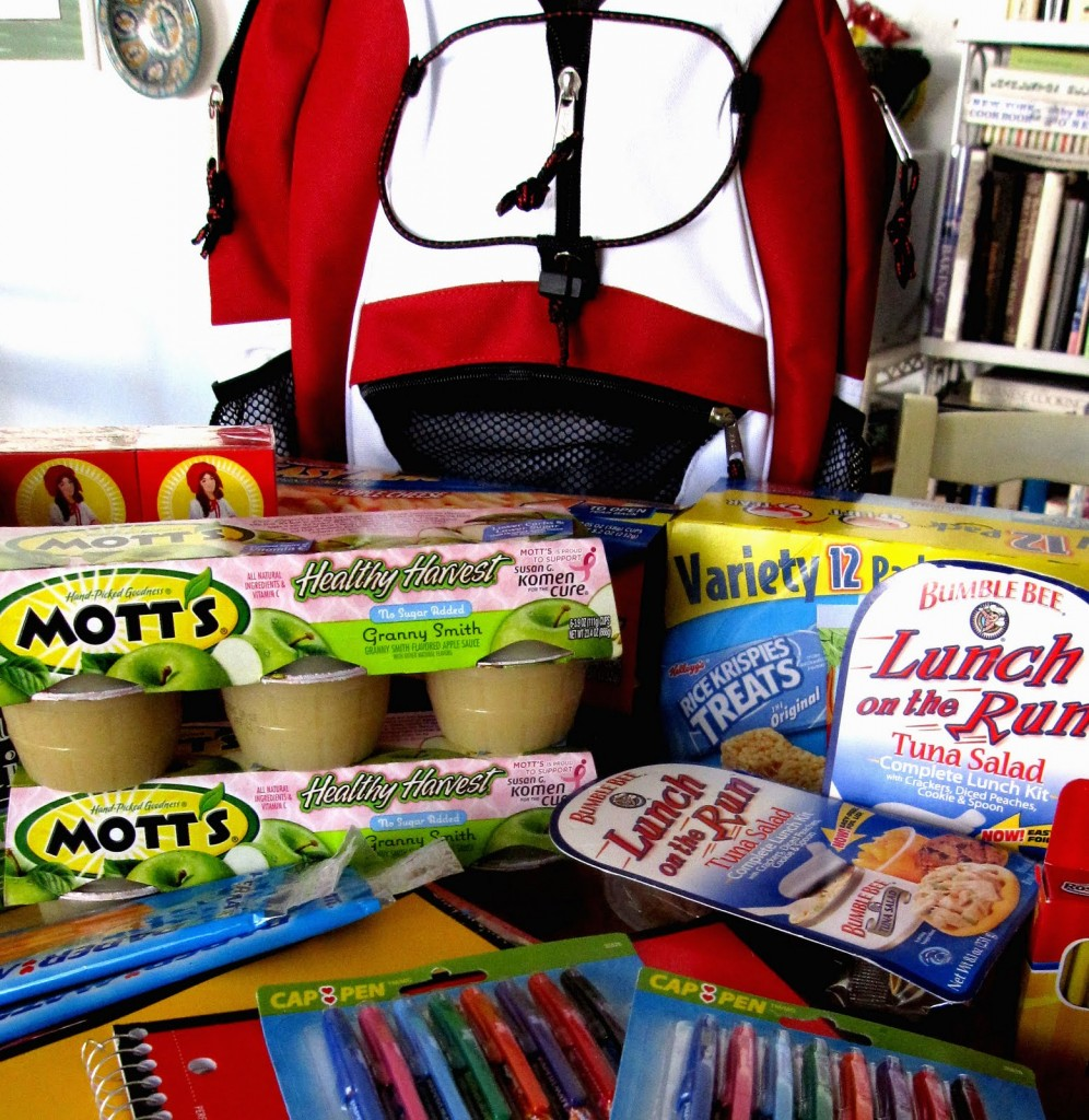 A backpack with a number of food items. Rada Cutlery is great for fundraising for backpack programs.