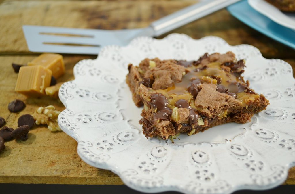 Luscious Caramel Brownies Recipe | Chocolate Chip and Nuts Brownies