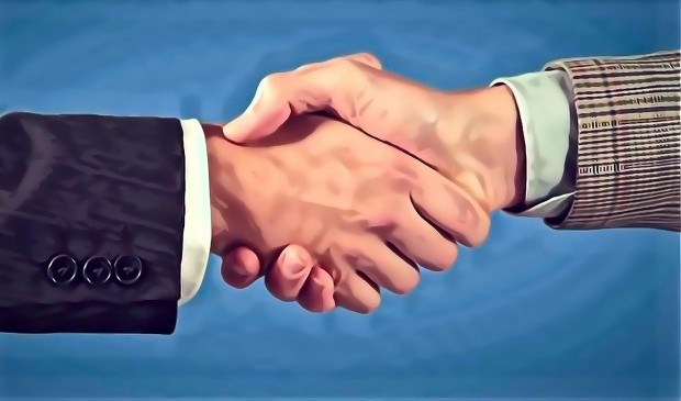 A painting depicting a firm handshake between honest businessmen.