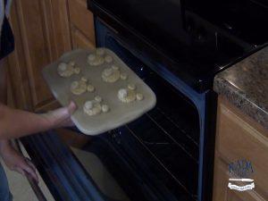 Kristi bakes cookies.