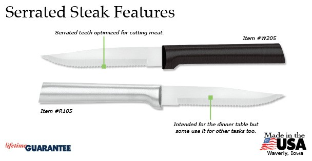 The amazing Rada Serrated Steak knife is the best way to cut a thick, juicy steak!