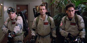 """Dan Aykroyd, Bill Murray, and Harold Ramis in """"Ghostbusters""""."""