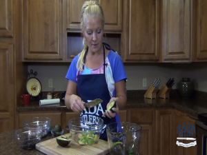 Jess uses a Rada French Chef knife to prepare an avocado.