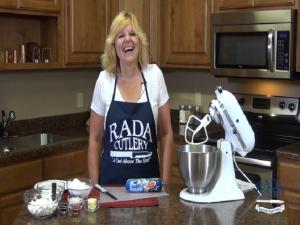Kristi poses with Santa Cookies ingredients.