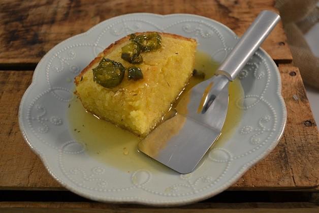 A delicious slice of Honey Jalapeno Cornbread with a Rada Mini Server.