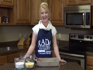 Jess prepares to make Honey Jalapeno Cornbread with Rada Cutlery products.