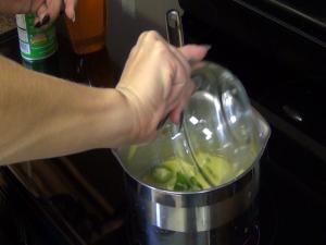 Jess adds ingredients to her cornbread's glaze.