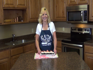 Kristi poses with completed ice cream cupcakes.