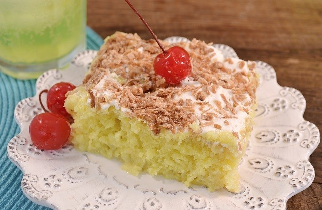 A slice of amazing Mello Yellow Poke Cake.