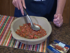 Kristi uses the Rada Pie Plate and Ice Cream Scoop to spread salsa.
