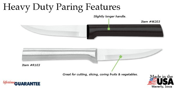 The amazing Heavy Duty Paring knife from Rada Cutlery has many appealing features.