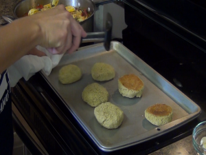 Jess prepares baked falafel with Rada products.
