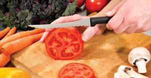 The amazing Rada Tomato Slicer gets perfect slices of tomato every time.