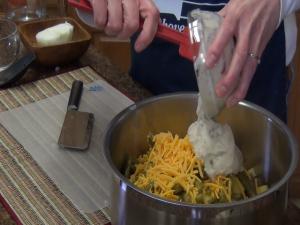 Kristi adds cream of mushroom soup with the Rada Mixing Spatula.