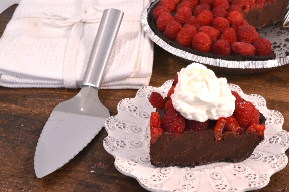 A delicious chocolate tart with a Rada Serrated Pie Server.