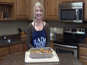 Jess poses with her completed roasted vegetables dish.