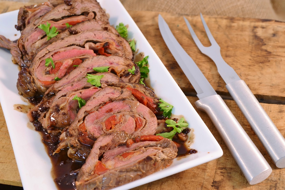 A delicious flank steak stuffed with cheese with the Rada Slicer and Granny Fork.