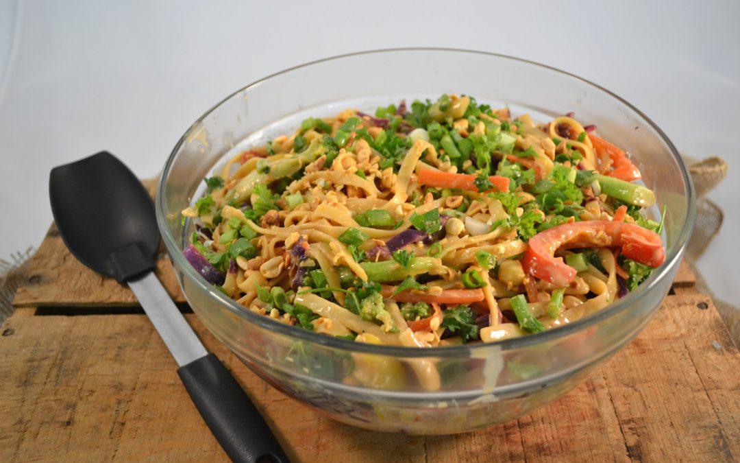 Rainbow Thai Noodles in Peanut Sauce Recipe | Thai Peanut Noddles