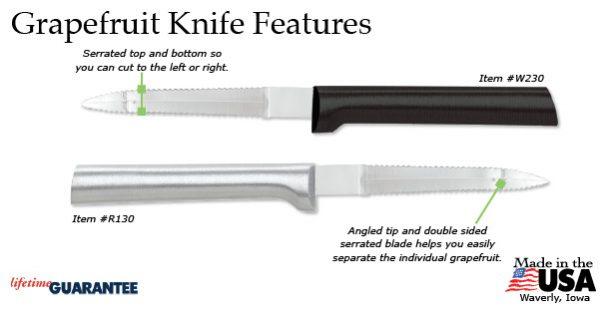 The Rada Grapefruit Knife's features.