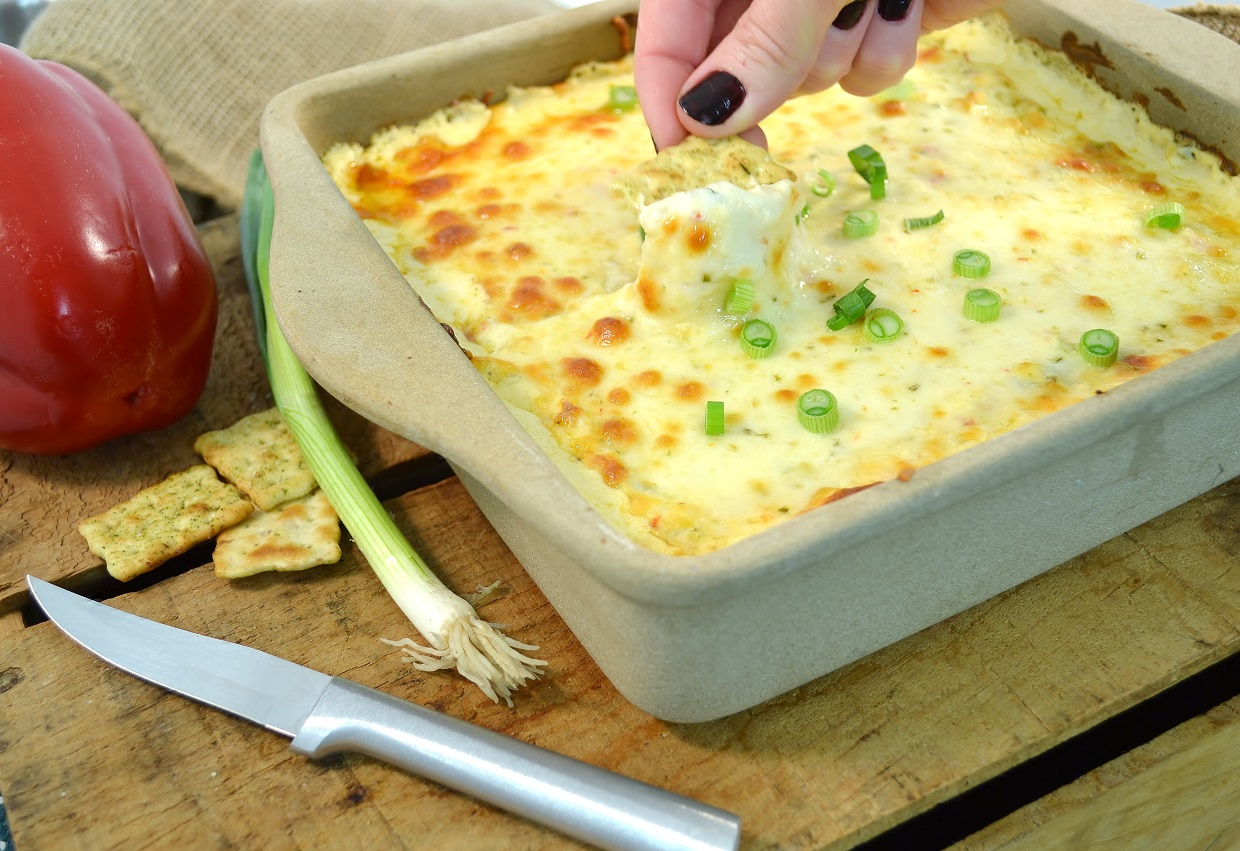 A delicious Cajun dip with a Rada Square Baker and Rada Heavy Duty Paring knife.