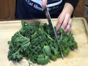 Jess chops kale with the Rada French Chef knife.