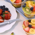 A delicious frozen fruit cups spread with a Rada Granny Paring knife.