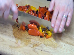 Jess cuts peppers with her Rada French Chef knife.