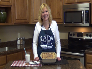 Kristi poses with completed apple pie bars.