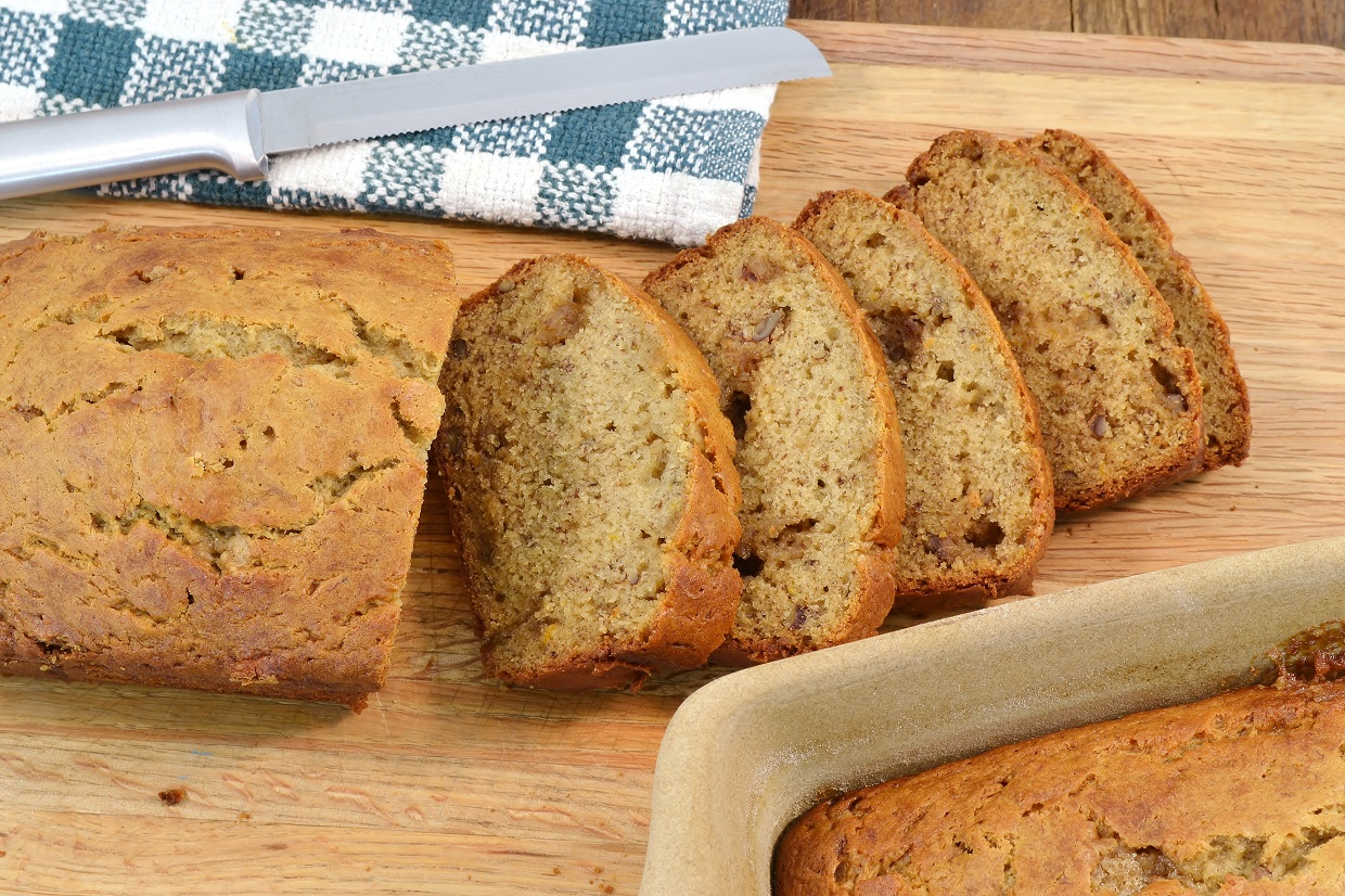 A delicious banana bread made with Rada products.