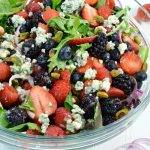 A delicious Berry Blue Summer Salad with a Rada Granny Paring knife.
