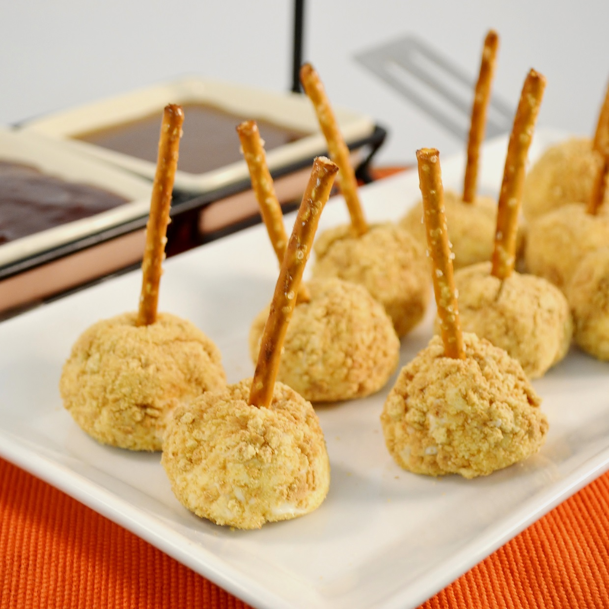 Delicious cheesecake pretzel bites made with Rada Cutlery products.