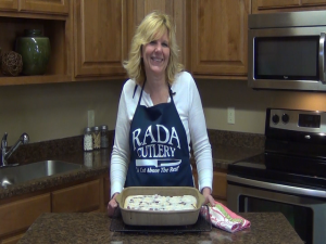 Kristi poses with completed cherry bars.