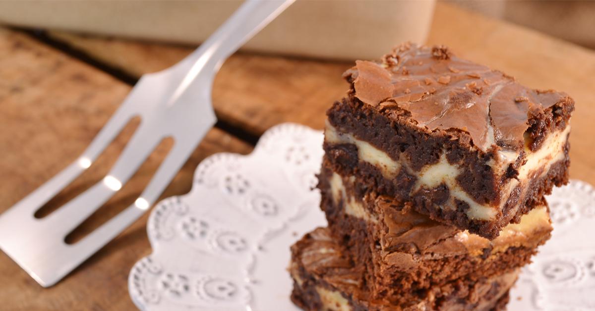 A delicious cheesecake brownie with a Rada Spatula.