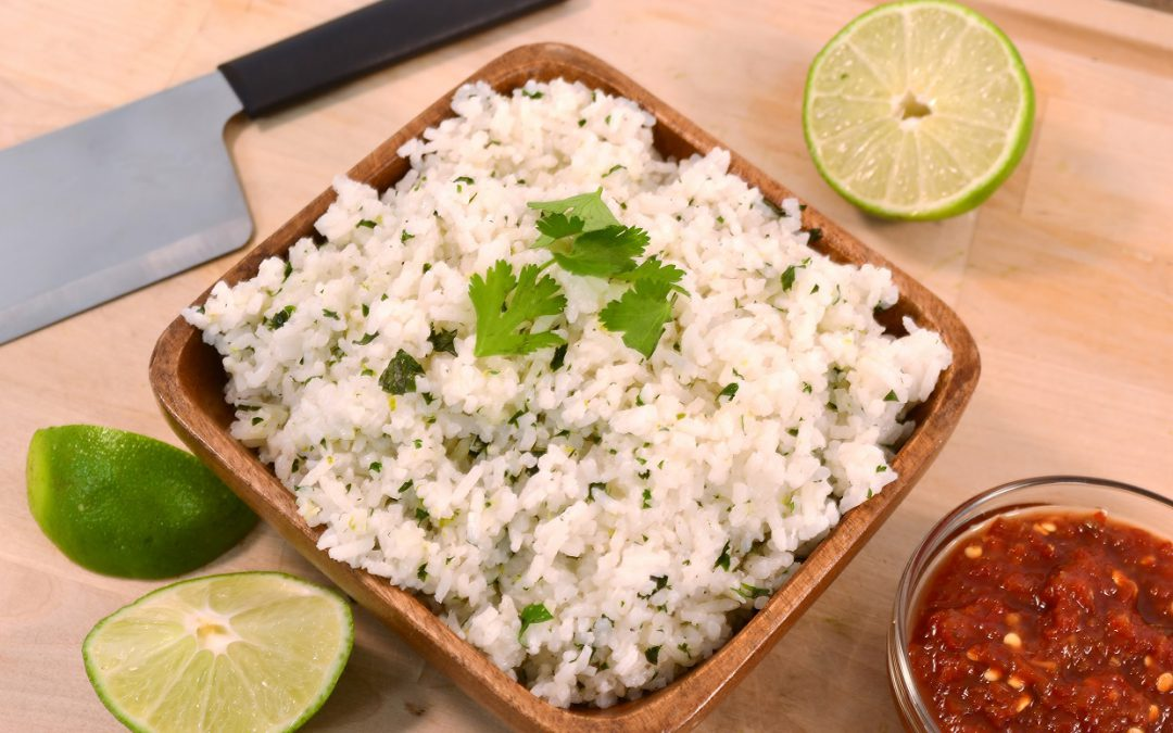 A dish of lime rice with a Rada Chef's Dicer.