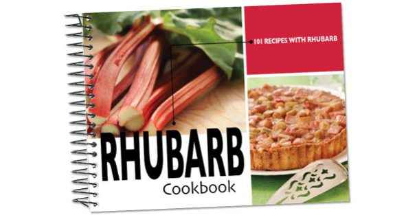 The 101 Recipes with Rhubarb recipe book cover.