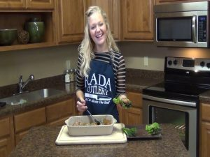 Jess poses with completed Asian Turkey Meatballs.