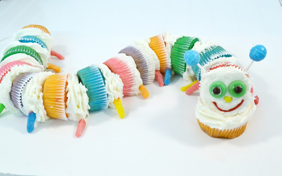 A cute caterpillar cupcake cake!