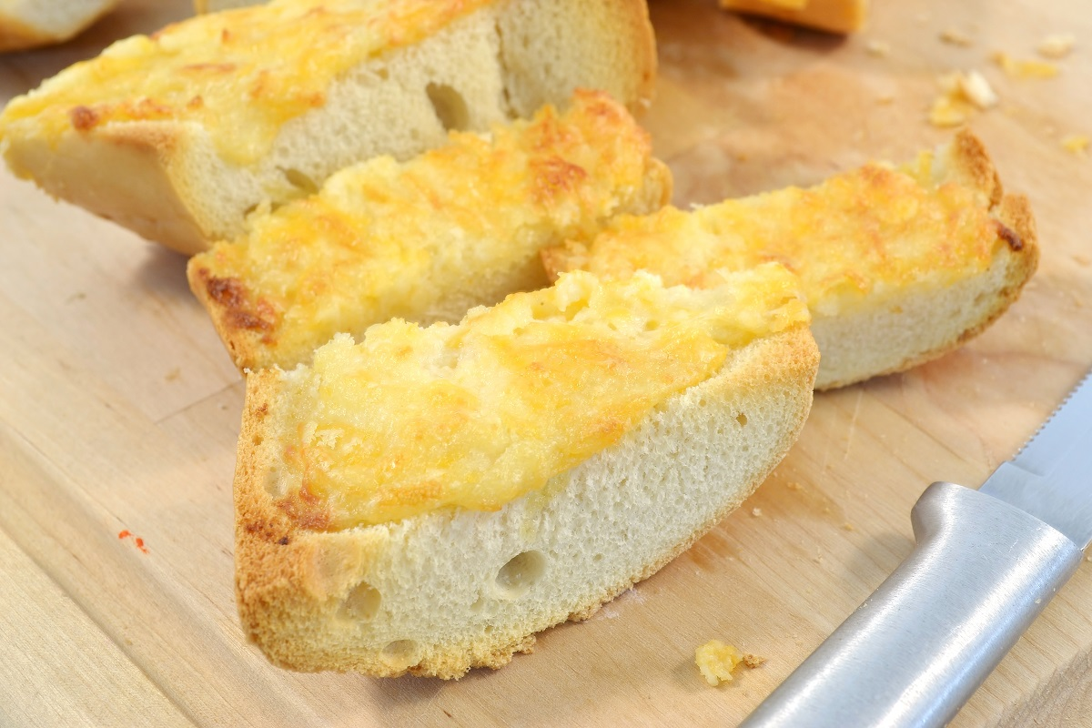 A lineup of delicious homemade cheese bread.