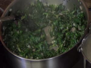 Jess stirs spinach.