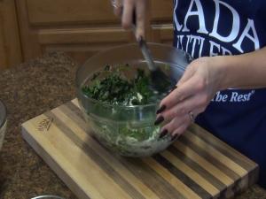 Jess stirs bowl with Rada Non-Scratch Spoon.
