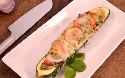 Chicken Pesto Zucchini Pizza Recipe | Zucchini Boats