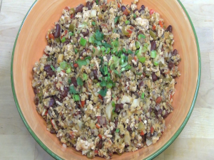 A completed dish of healthy dirty rice.
