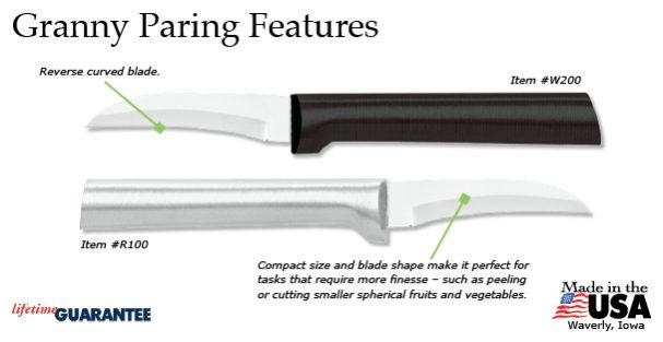 The Rada Granny Paring knife's features.