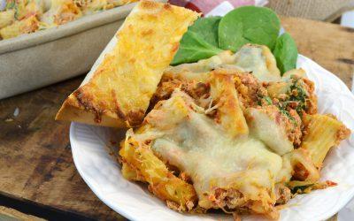 Lasagna-Style Baked Ziti Recipe | Baked Ziti Spinach Lasagna