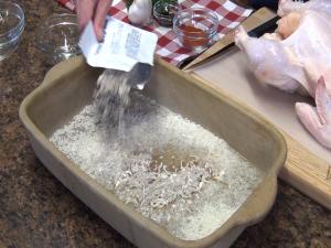 Kristi adds onion soup mix to Rada Rectangular Baker.