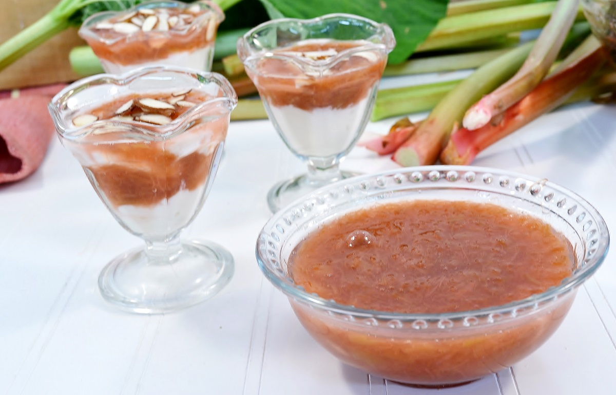 A dish of delicious stewed rhubarb.