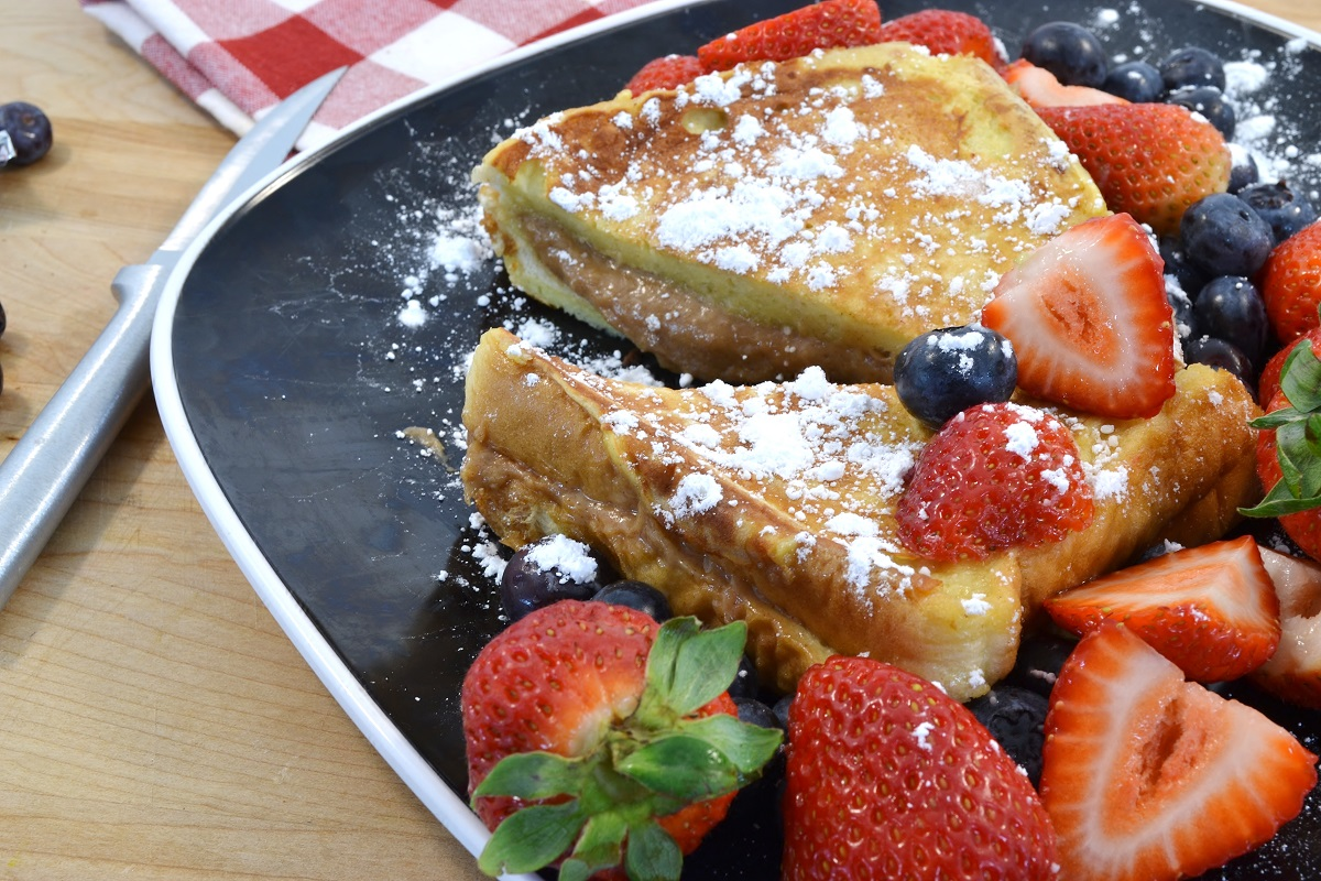 A plate of delicious stuffed French toast.